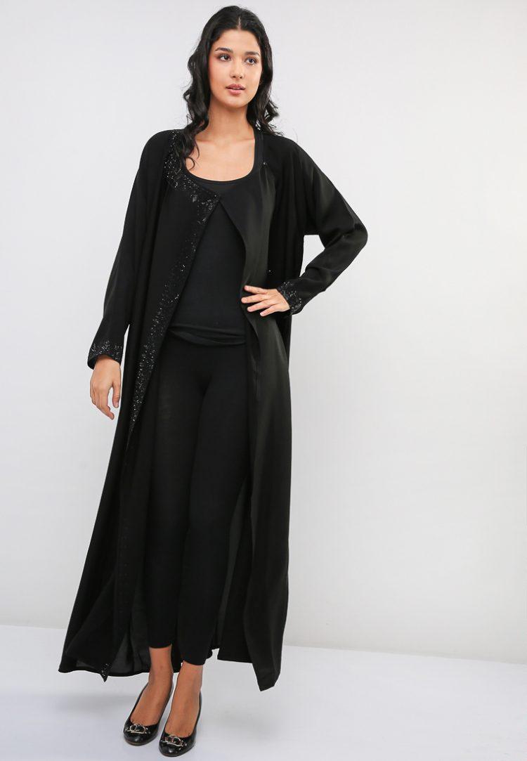Side Open Embellished Abaya-MAHA ABAYAS