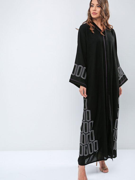Stack Up Embroidered Abaya-Roza