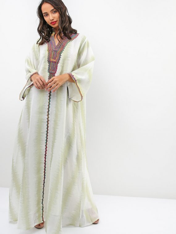 Stripe Fleece Embroidered Jalabiya-Sara Arabia