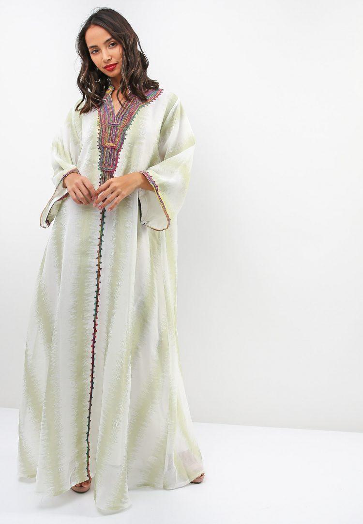 Stripe Fleece Embroidered Jalabiya-Sara Arabia
