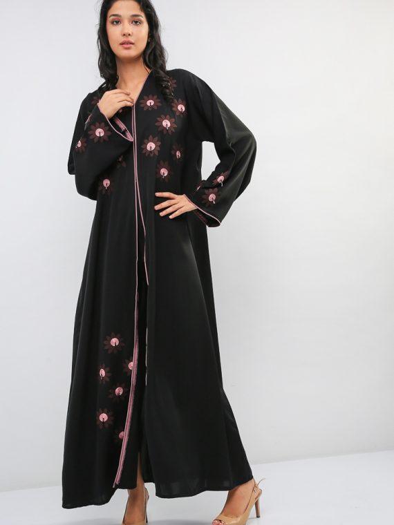 Tassel Embossed Floral Abaya-Bousni