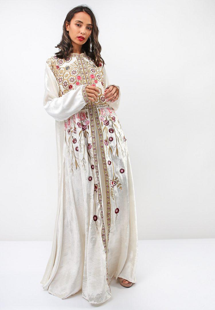 Thread Embroidery and Beads Accent Jalabiya-Sara Arabia