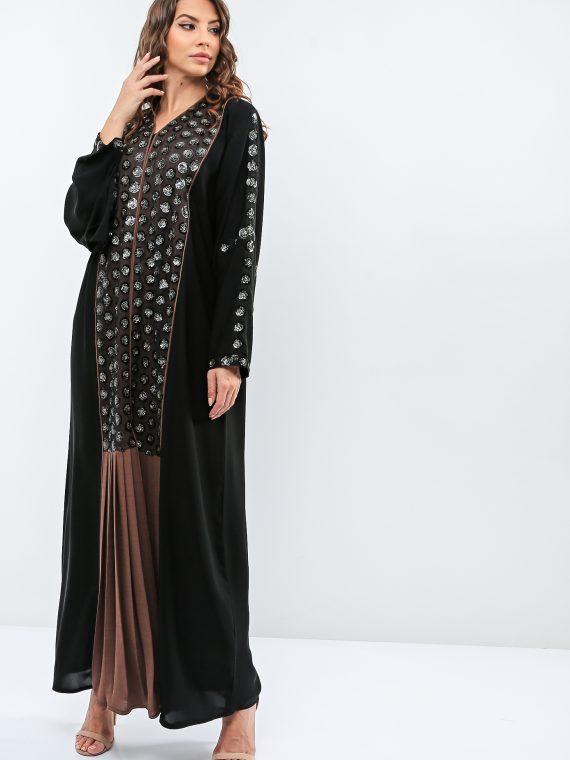 Two Tone Embroidered Abaya-Haya