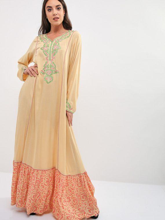 Yellow Embroidered Cuffs Jalabiya-Kashkha
