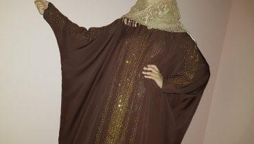 Abaya Designs #32 – Farasha Abayas kaftan | Golden Pearls Colored Abayas | Pearls Trends