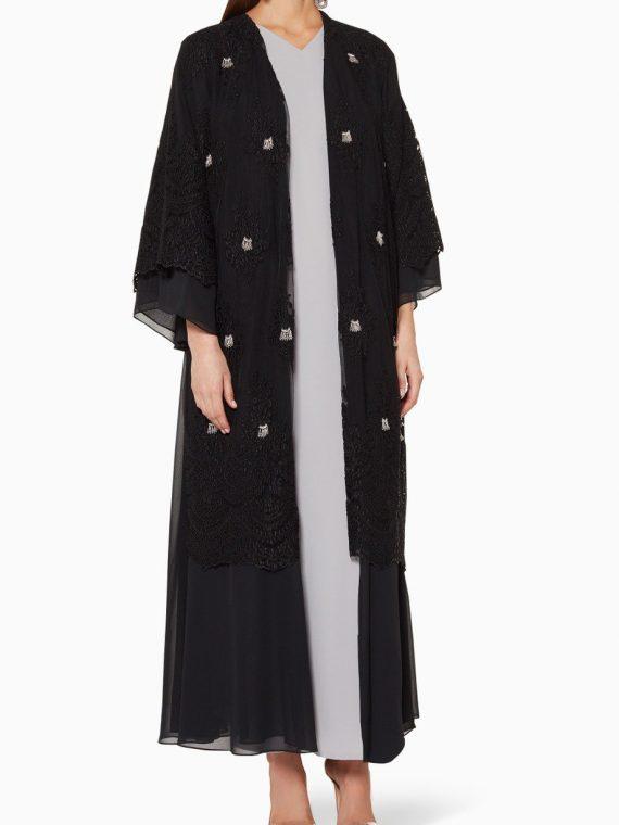 Black Bead Embellished Abaya-Anatomi