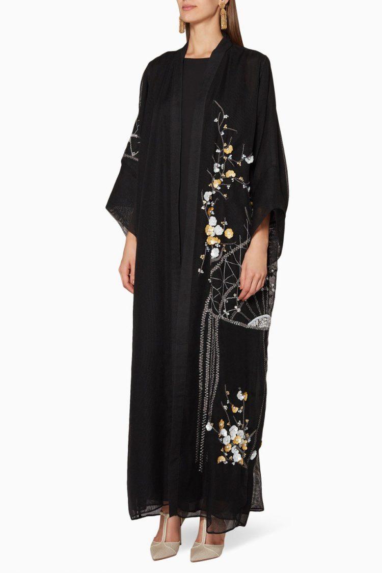 Black Embellished Abaya-