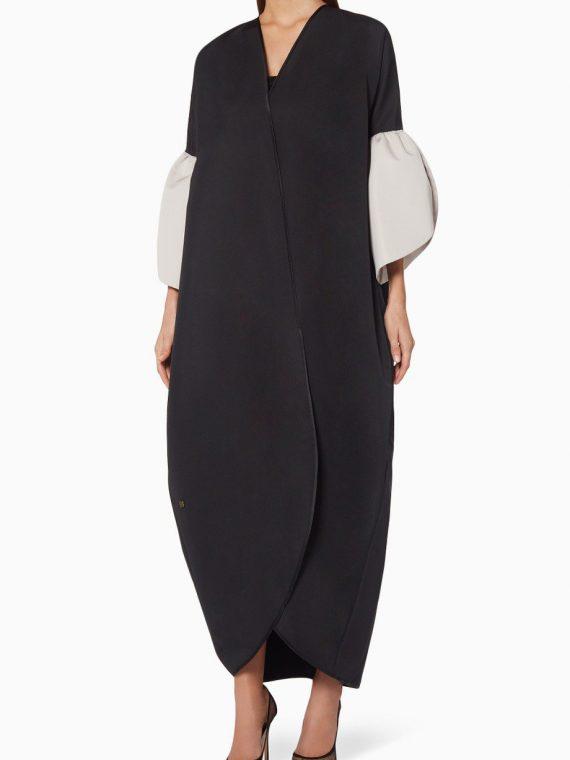 Black & Beige Ruffle-Sleeve Abaya-