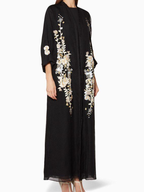 Black Floral-Embroidered Abaya-290.00
