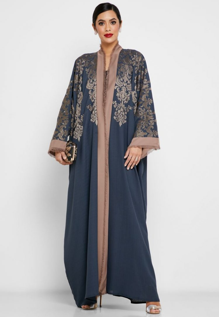 Colorblock Embroidered Abaya - Haya's Closet