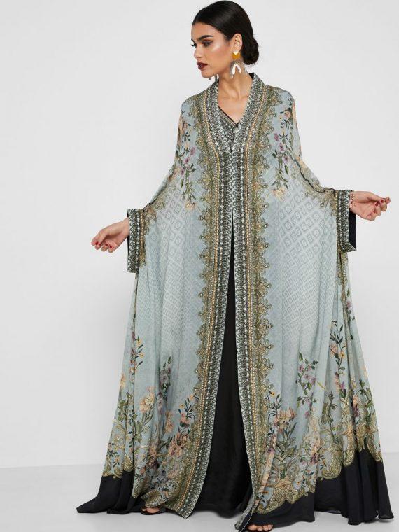 Embellished Printed Kaftan - NIRRAAMYAA