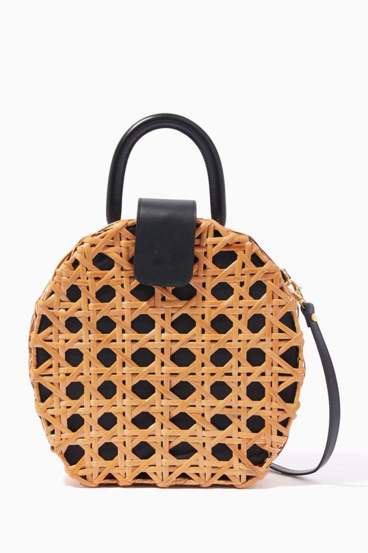 Natural & Black Charlie Round Rattan-Weave Bag-110.00