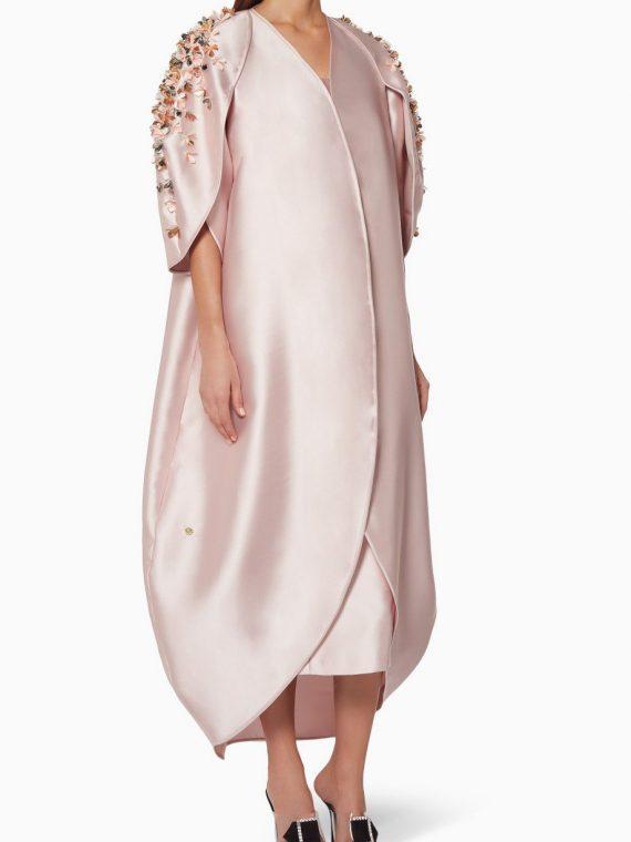 Pink Embellished Abaya with Sheila-