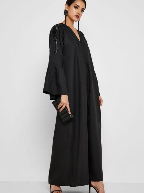Pleated Sleeve Beaded Abaya - Haya's Closet