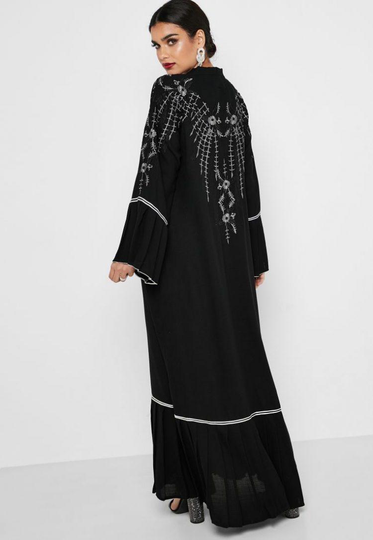 Pleated Sleeve Embroidered Abaya - Haya's Closet