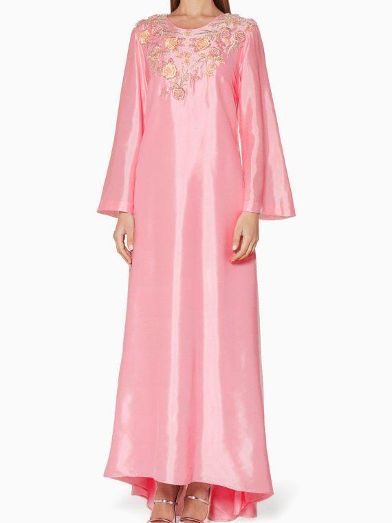 Powder Pink & Ivory Embellished Kaftan-
