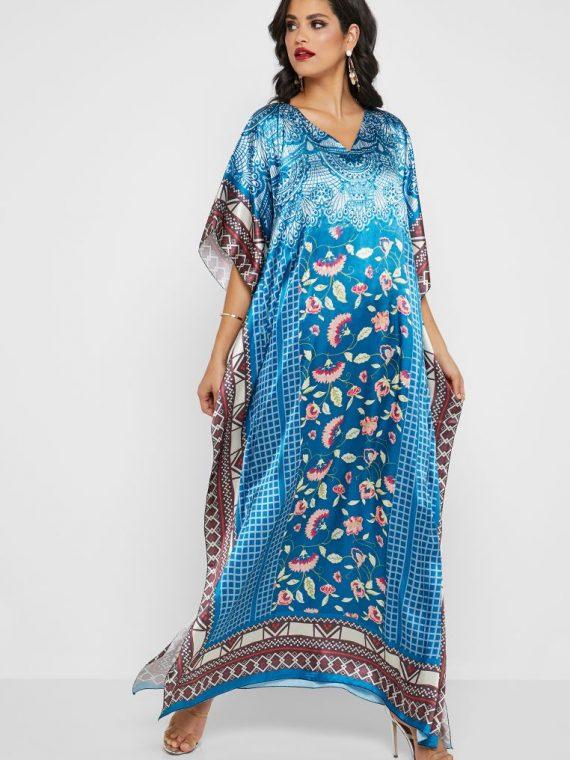 Printed Embellished Kaftan - Haya's Closet