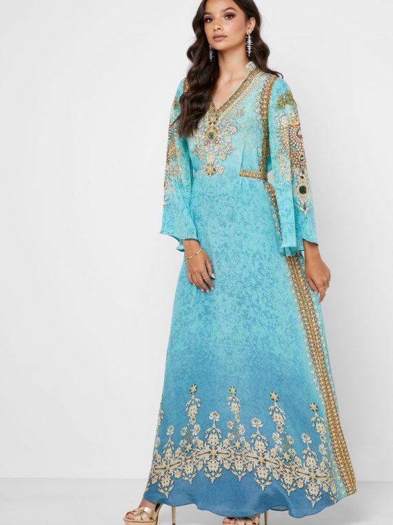 Printed Embellished Kaftan - NIRRAAMYAA